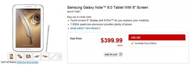 Samsung Galaxy Note 8.0: disponibile su Office Depot a 399$