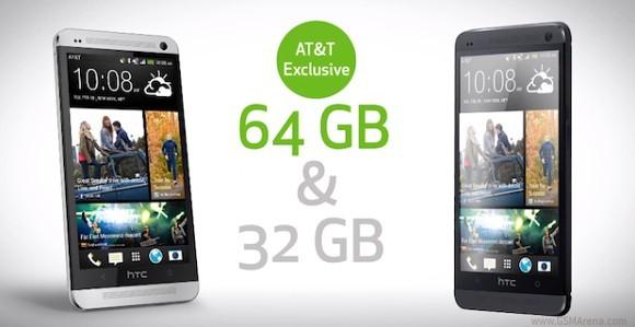 HTC One: versione da 64GB esclusiva di AT&T in USA