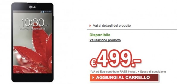 LG Optimus G disponibile a 499€ su Redcoon.it