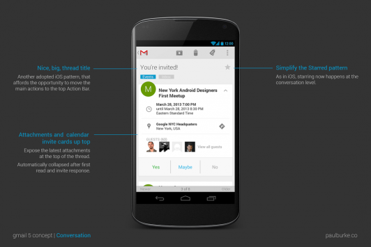 Gmail 5.0 per Android: un concept mostra la nuova interfaccia grafica