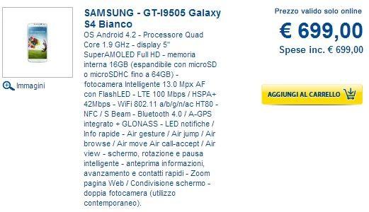 Samsung Galaxy S IV: al via i preordini anche da Euronics a 699€ con consegna dal 24 Aprile
