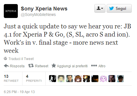 Tweet Sony: Jelly Bean in arrivo per vari modelli Xperia