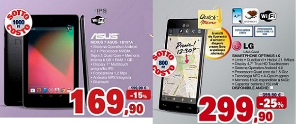 Nexus 7 a 169€ e LG Optimus 4X HD a 299€ e molti altri device Android in offerta da Unieuro
