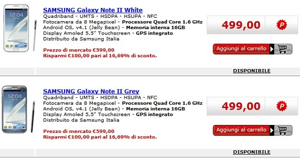 Samsung Galaxy Note 2 in offerta da Media World a 499€