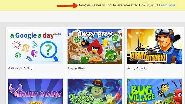 La sezione Google+ Games verrà rimossa il 30 Giugno