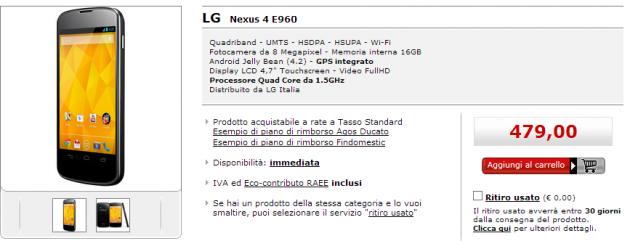 Nexus 4 ufficialmente disponibile da MediaWorld a 479€