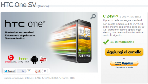 HTC One SV in offerta a 249 euro su Expansys