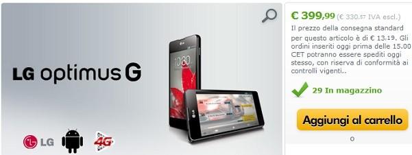 LG Optimus G in vendita a 399 euro su Expansys Italia