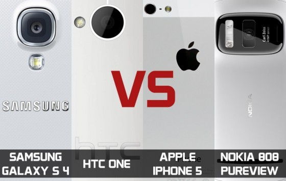 Samsung Galaxy S4 vs HTC One vs Apple iPhone 5 vs Nokia 808 Pureview: confronto foto e video