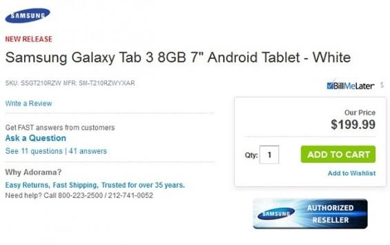 Samsung Galaxy Tab 3 7.0, svelato accidentalmente il prezzo?