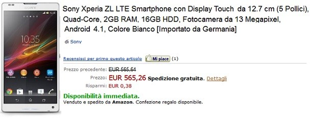 Sony Xperia ZL disponibile su Amazon Italia a 576€