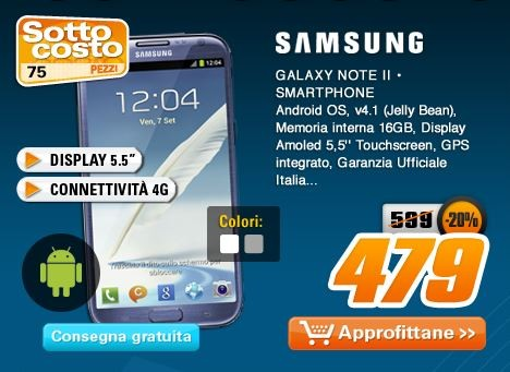Grandi sconti da Saturn: moltissimi dispositivi Android in offerta e Samsung Galaxy Note II a 479€