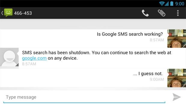 Google SMS Search verrà disattivato nelle prossime settimane