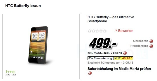 HTC Butterfly e HTC Desire SV disponibili in Germania al prezzo di 499€ e 259€