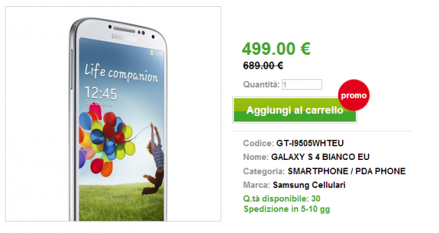 Offerte Techmania: Samsung Galaxy S4 EU a 499 €, Nexus 4 EU a 339 €, HTC One EU a 539 €