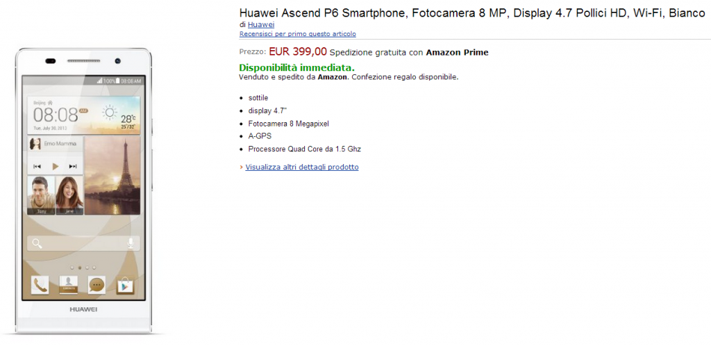 Huawei Ascend P6 Smartphone  Fotocamera 8 MP  Display 4.7 Pollici HD  Wi Fi  Bianco  Amazon.it  Elettronica