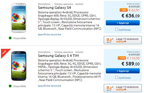 Samsung Galaxy S4 in offerta a 589€ con Garanzia Italia da MarcoPolo Expert