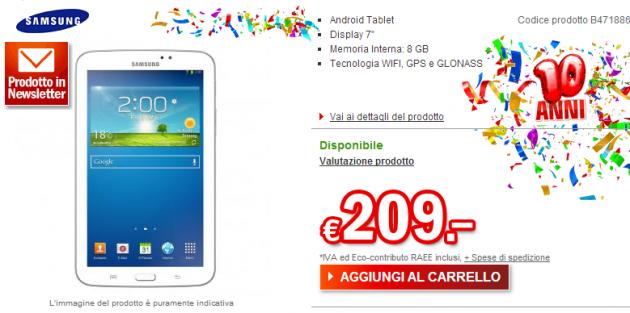 Samsung Galaxy Tab 3 7.0: disponibile in Italia a 209€ nella versione Wi-Fi