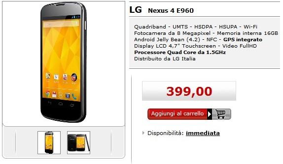 LG Nexus 4 in vendita a 399 euro da Mediaworld con Garanzia Italia