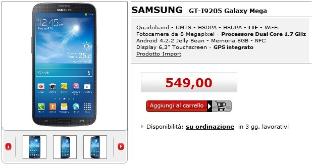 Samsung Galaxy Mega 6.3 disponibile a 549 euro da MediaWorld