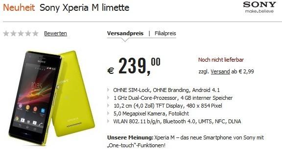 Sony Xperia M: il prezzo di vendita in Europa è di 239 euro