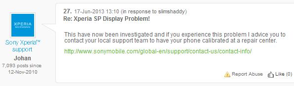 Xperia SP: Sony risponde ai problemi relativi al touchscreen