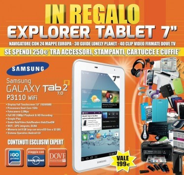 MarcoPolo Expert: in regalo un Galaxy Tab da 7 pollici con un acquisto di 250€ in accessori