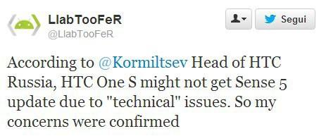 HTC One S: forse non arriverà l'aggiornamento alla Sense 5.0
