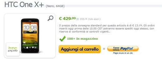 HTC One X+ da 64GB in offerta a 429 euro su Expansys