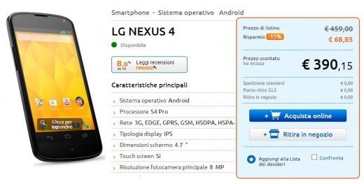 Nexus 4 italiano, prezzo in caduta libera: disponibile a 390 Euro su Marcopolo