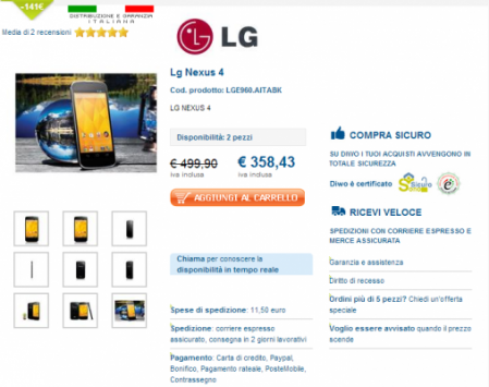 LG Nexus 4 a 358 euro con Garanzia Italia