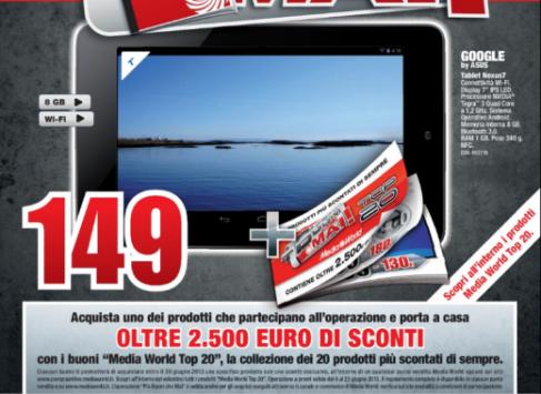 Nexus 7 8 GB in offerta a 149 Euro da Mediaworld