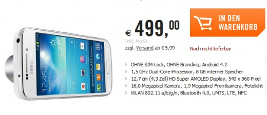 Samsung Galaxy S4 Zoom: il prezzo di vendita in Europa è di 499 euro