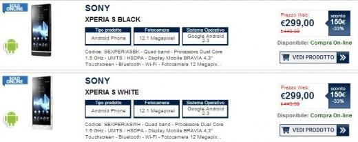 Sony Xperia S disponibile da Unieuro a 299 euro