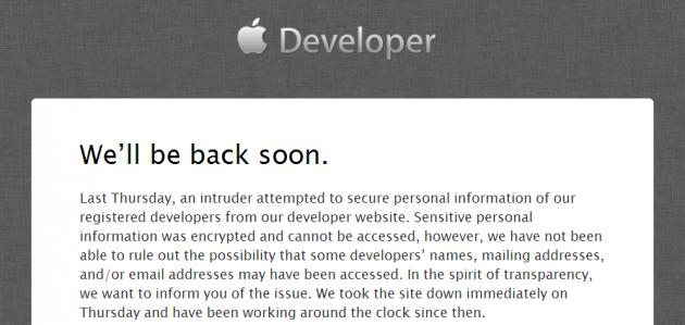 Apple conferma la violazione del suo portale dedicato agli sviluppatori.