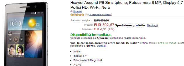 Huawei Ascend P6 Nero in vendita a 392€ su Amazon.it