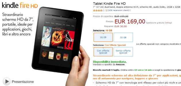 Amazon Kindle Fire HD, tagli al prezzo: 7 pollici disponibile ora da 169 Euro