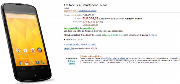Nexus 4 Italia disponibile a 356 Euro (spedizione gratuita) su Amazon.it [UPDATE] Ora a 349 Euro