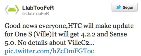 HTC One S: in arrivo l'update ad Android 4.2.2 e Sense 5.0?