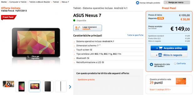 Asus Nexus 7 in offerta a 149 euro con Garanzia Italia da MarcoPolo Expert
