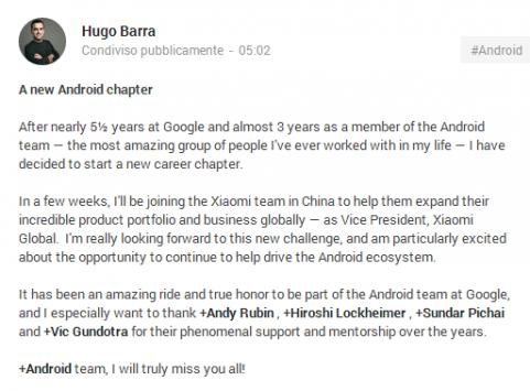 Hugo Barra lascia Google e passa a Xiaomi