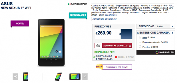 Asus Nexus 7 2013: disponibile in preordine da Unieuro a 269 euro [UPDATE: anche da MediaWorld]