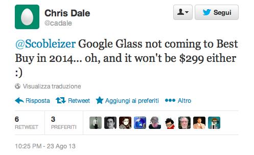 Google Glass: smentiti il prezzo di 300 dollari e la vendita da Best Buy