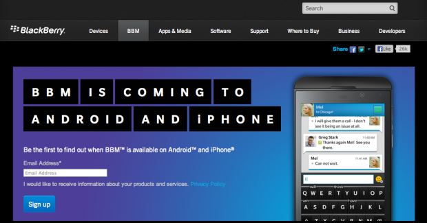 BlackBerry Messenger in arrivo su Android