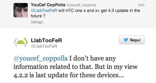 HTC One X e One X+: in dubbio l'aggiornamento ad Android 4.3