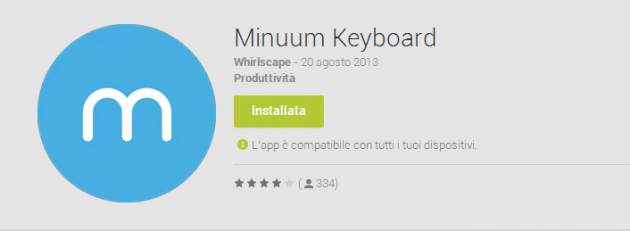 Minuum Keyboard sbarca sul Play Store, anche se solo in lingua inglese