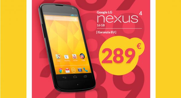 Nexus 4 16GB ora in vendita a 289€ su Gli Stockisti