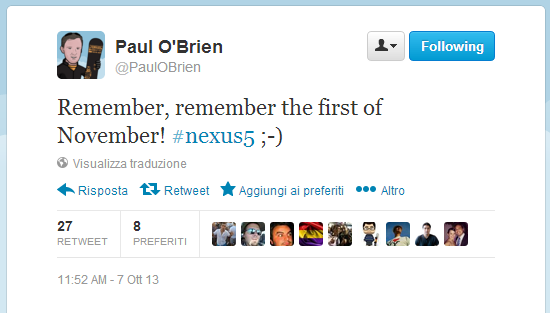 Nexus 5: presentazione il 1 Novembre secondo Paul O'brien