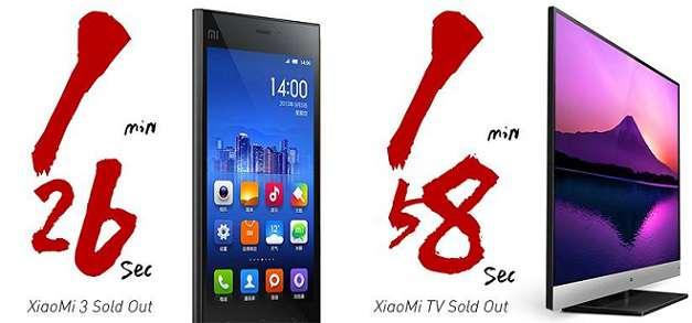 Xiaomi: venduti 100.000 Mi3 in poco più di un minuto e 3000 Xiaomi TV in due minuti