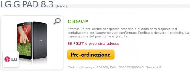 LG G Pad 8.3: iniziano i pre-ordini in Italia a 364€